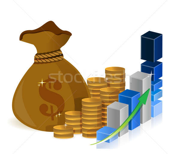 Geld zakken munten grafiek teken Blauw Stockfoto © alexmillos