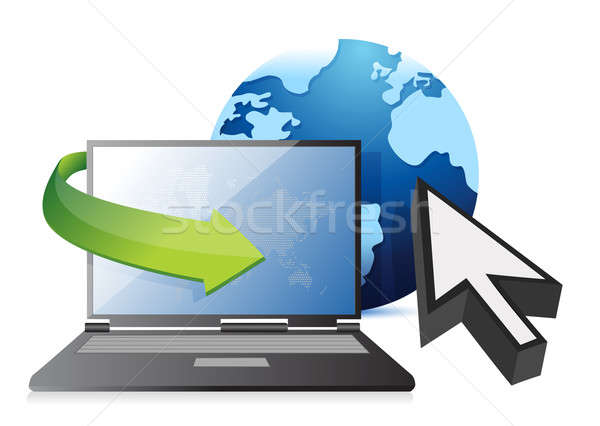 Internet laptop, globe and cursor concept Stock photo © alexmillos
