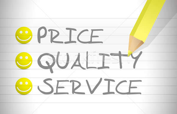 evaluate price, quality and service over a notepad Stock photo © alexmillos