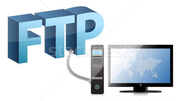 Ordenador mapa del mundo ftp red web azul Foto stock © alexmillos