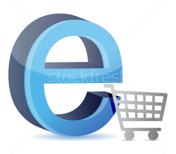 Consumer basket with an internet sign  Stock photo © alexmillos