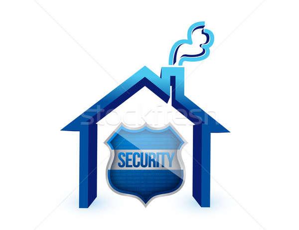 住宅保険 保護 シールド 家 背景 白 ストックフォト © alexmillos