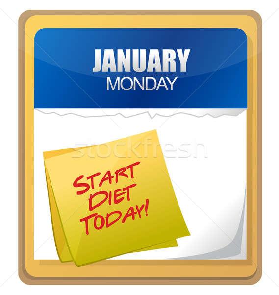 Start dieet vandaag woorden geschreven kalender Stockfoto © alexmillos