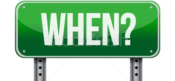 when green road sign illustration Stock photo © alexmillos