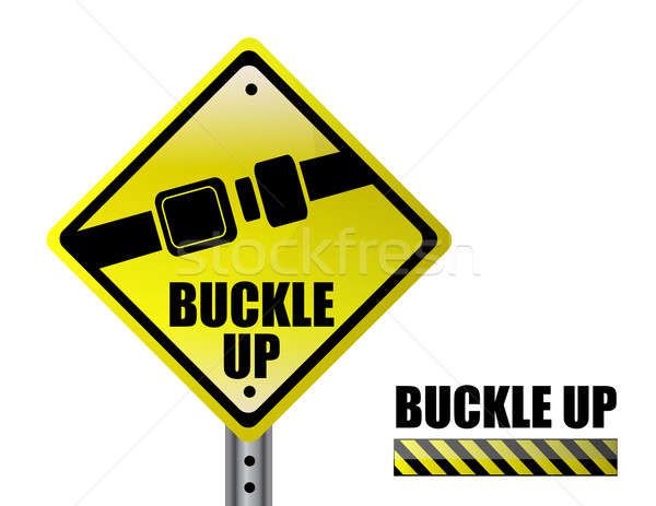 Detail metal buckle up street sign isolated over a white backgro Stock photo © alexmillos