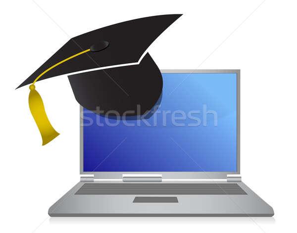Stock fotó: Online · oktatás · érettségi · illusztráció · terv · iskola