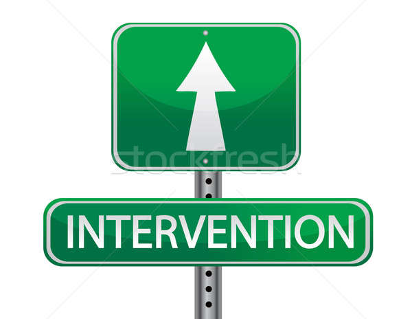 intervention street sign concept illustration isolated over whit Stock photo © alexmillos