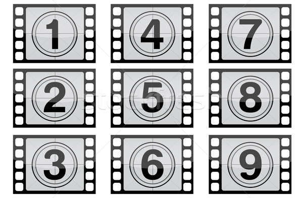 Highly detailed film countdown numbers. (one Through nine) / Fil Stock photo © alexmillos