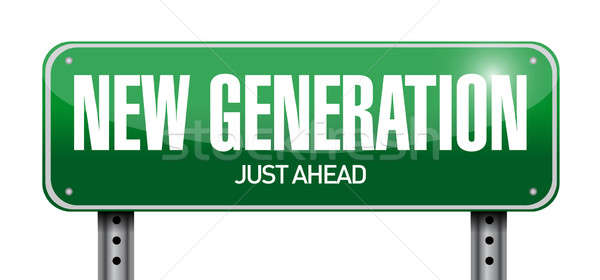 new generation road sign illustration design over a white backgr Stock photo © alexmillos
