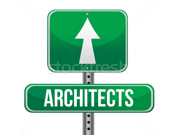 architects road sign illustration design over a white background Stock photo © alexmillos