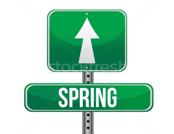 Voorjaar groene verkeer verkeersbord illustratie ontwerp Stockfoto © alexmillos