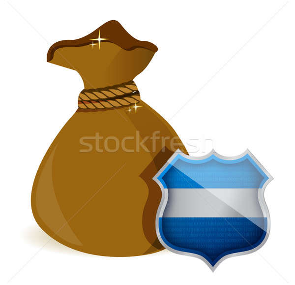money bag being protected by a shield illustration design over w Stock photo © alexmillos