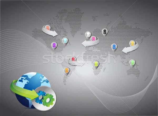 network map social network dark illustration design Stock photo © alexmillos
