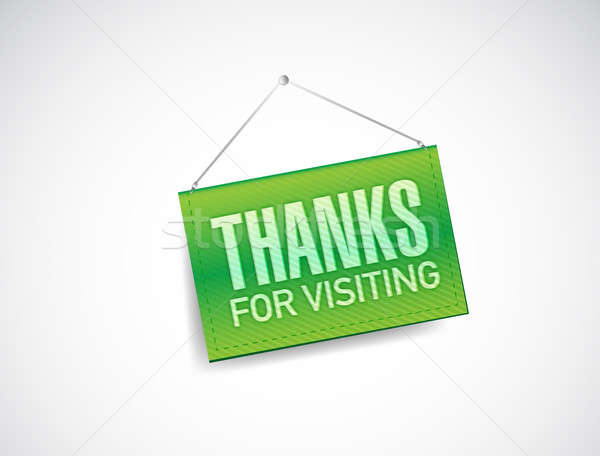 thanks for visiting hanging sign illustration design over white Stock photo © alexmillos