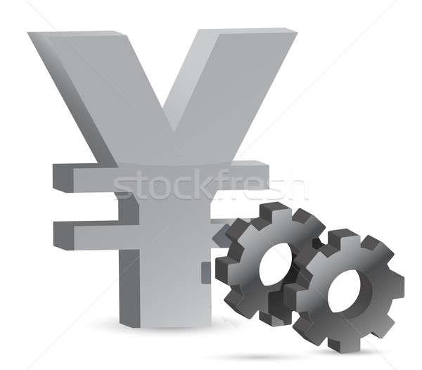 Yen gears illustration design over white background Stock photo © alexmillos