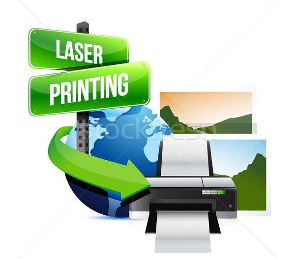 laser printing concept illustration design over white Stock photo © alexmillos