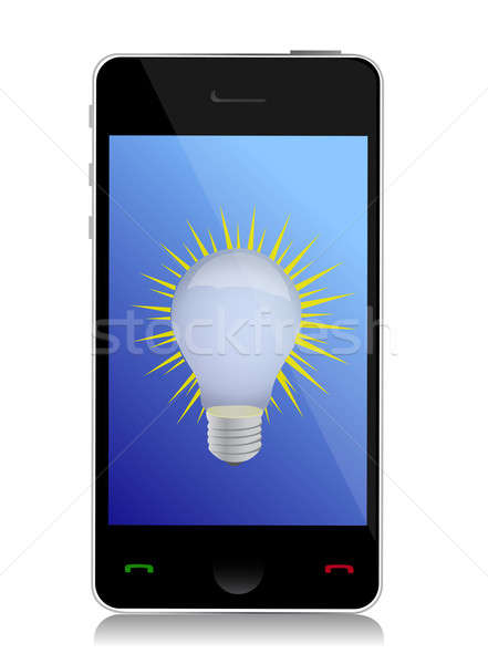 start up concept on touchscreen of mobile phone illustration Stock photo © alexmillos