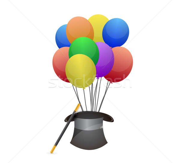 hat and balloons illustration design over white Stock photo © alexmillos