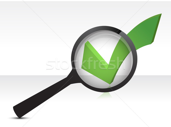 green checkmark and magnifying glass illustration design over wh Stock photo © alexmillos