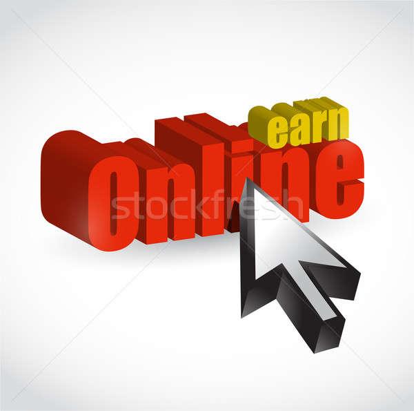 EARN ONLINE MONEY MAKING CONCEPT illustration design over white Stock photo © alexmillos