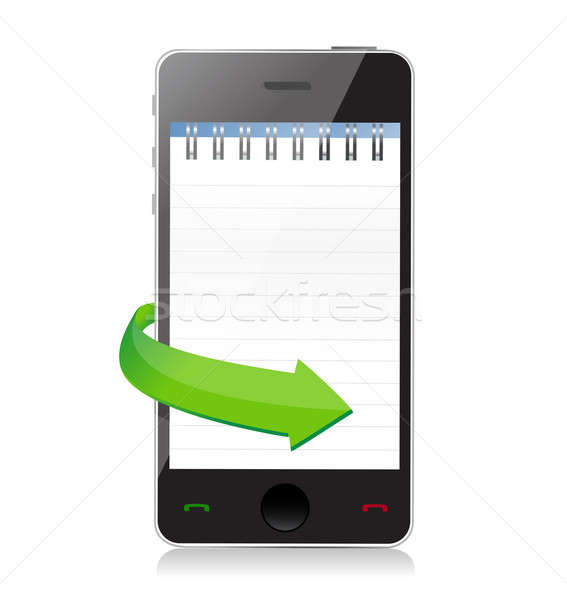 phone with a notepad ring binder on screen illustration design Stock photo © alexmillos