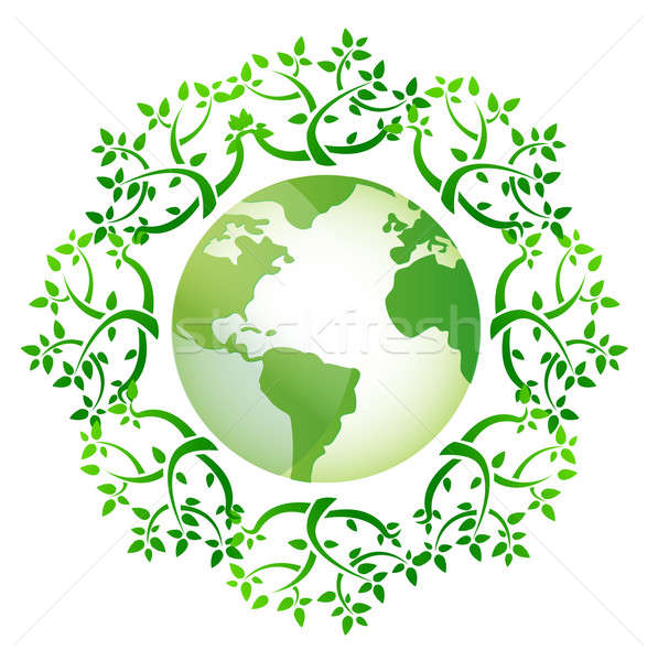 globe and leaves around illustration design over a white backgro Stock photo © alexmillos