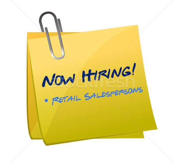 hiring retail salespersons post illustration design over white Stock photo © alexmillos