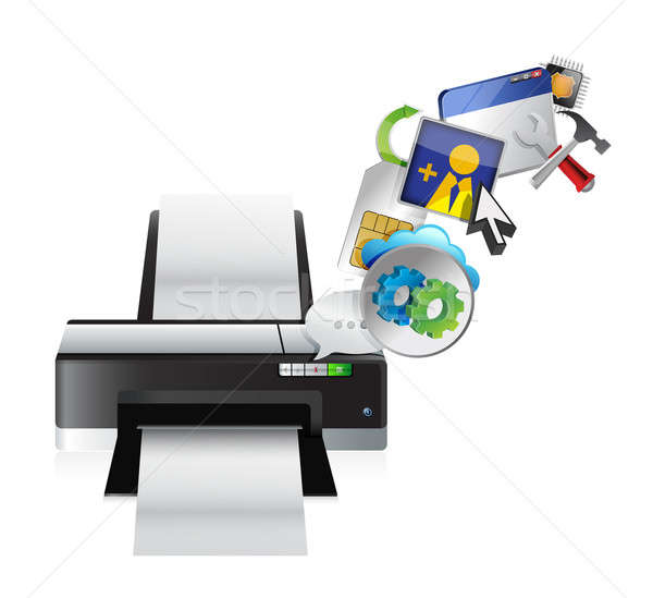 printer settings tools illustration design over a white backgrou Stock photo © alexmillos