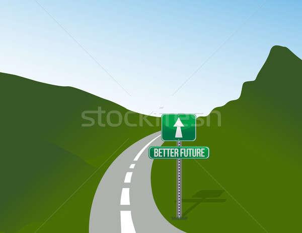 Straße besser Zukunft Illustration Gartengestaltung Grafik Stock foto © alexmillos
