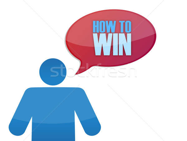 Icon with a how to win message illustration Stock photo © alexmillos