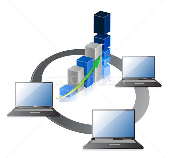 Laptops negocios crecimiento gráfico de barras ordenador Foto stock © alexmillos
