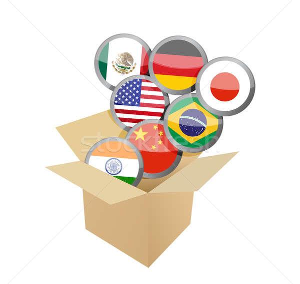 Box full of flags. illustration design  Stock photo © alexmillos