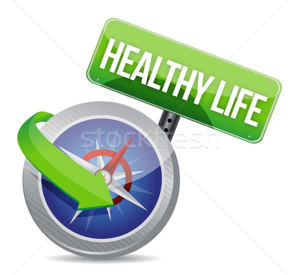 Gezond leven kompas medische lichaam fitness achtergrond Stockfoto © alexmillos