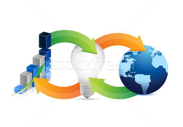 Business internazionale idea ciclo business mondo luce Foto d'archivio © alexmillos