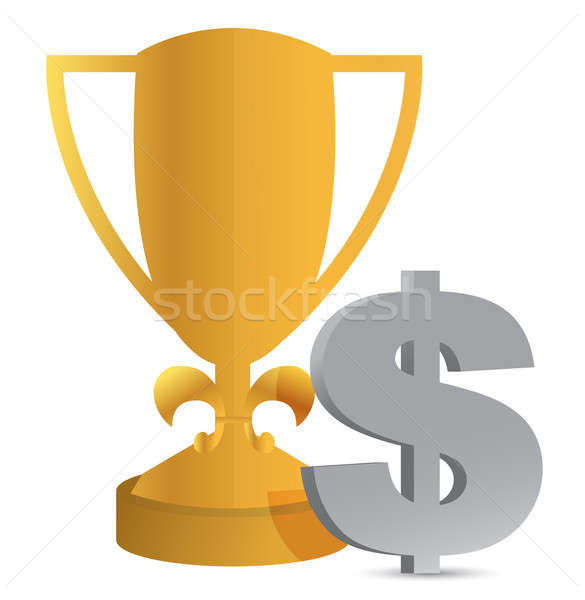 trophy cup and dollar sign illustration design Stock photo © alexmillos