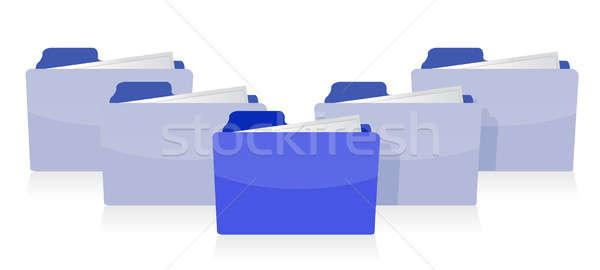 Documenten georganiseerd internet ontwerp Blauw witte Stockfoto © alexmillos