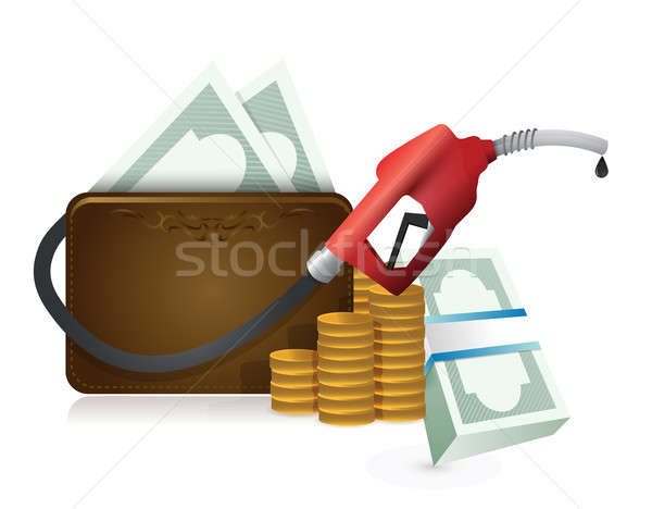 Money wallet with a gas pump nozzle  Stock photo © alexmillos