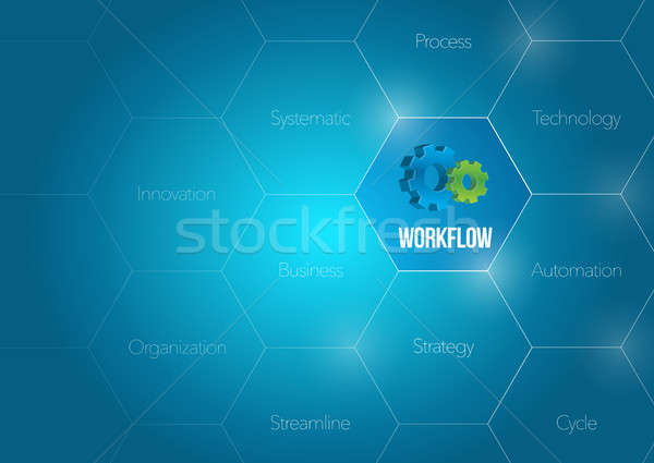 Flux de travail affaires diagramme illustration design graphique Photo stock © alexmillos