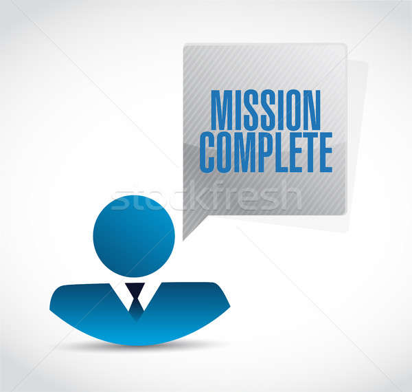 mission complete businessman sign concept Stock photo © alexmillos