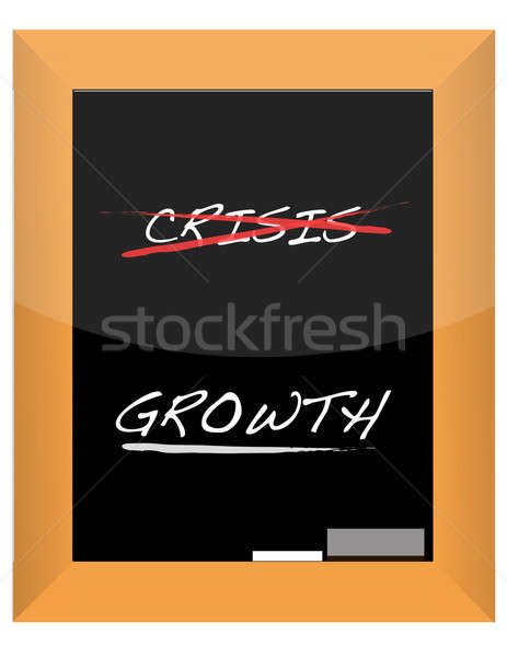 Crisis & growth hand write on chalk board illustration Stock photo © alexmillos