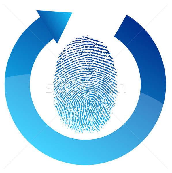 отпечатков пальцев безопасности проверить иллюстрация дизайна белый Сток-фото © alexmillos