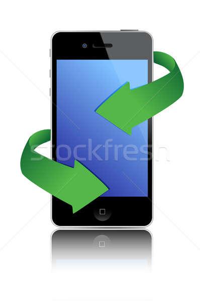illustration, black mobile phone and green arrows design Stock photo © alexmillos