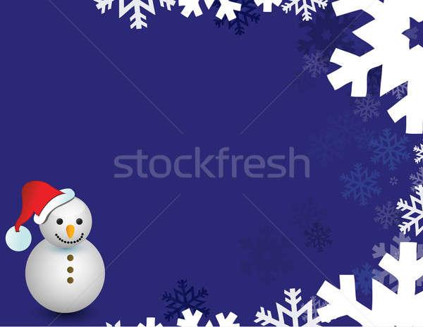 snowman and snow flakes illustration Stock photo © alexmillos