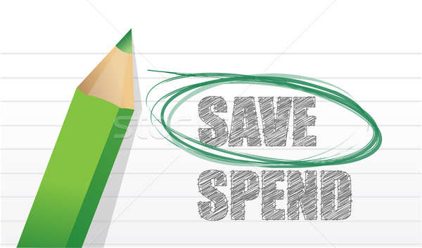 Save instead of Spend illustration design over white Stock photo © alexmillos