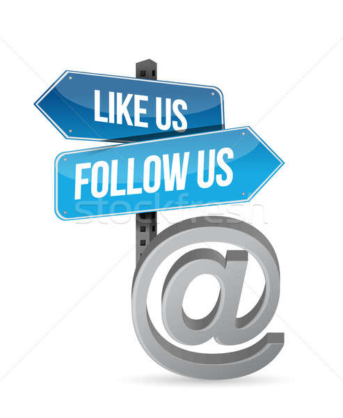 like us and follow us online sign illustration design over white Stock photo © alexmillos