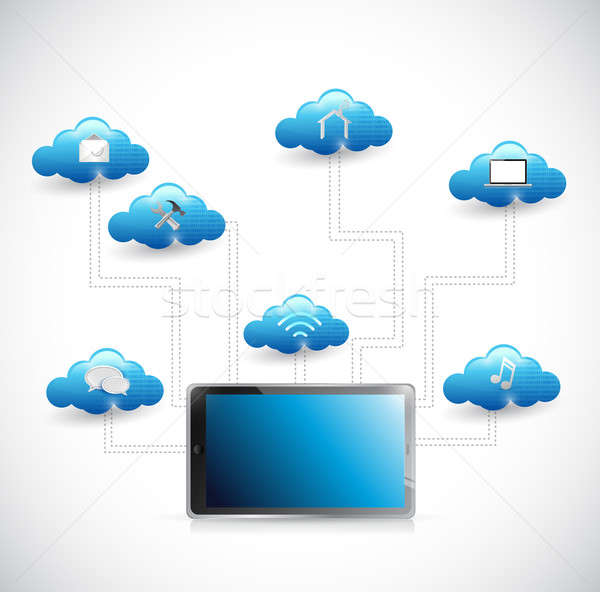 tablet and cloud tools diagram illustration network design Stock photo © alexmillos