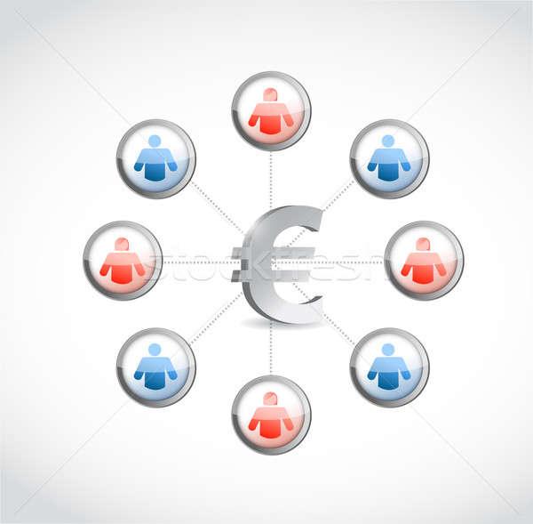 Euros monnaie réseau social illustration design blanche Photo stock © alexmillos