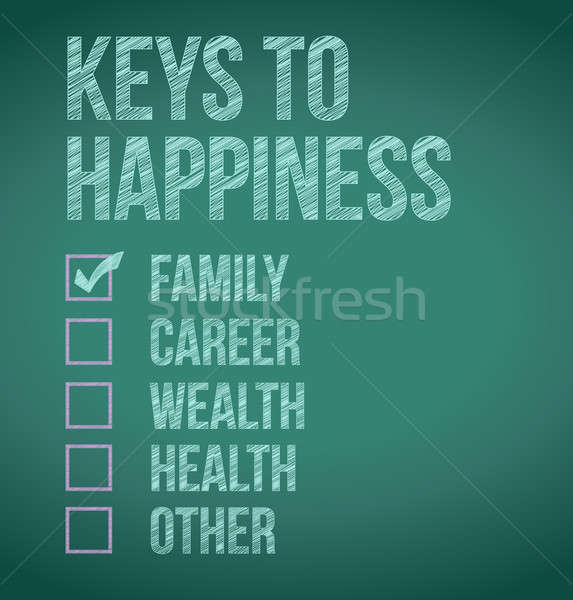 Stock photo: keys to happiness check box selection illustration