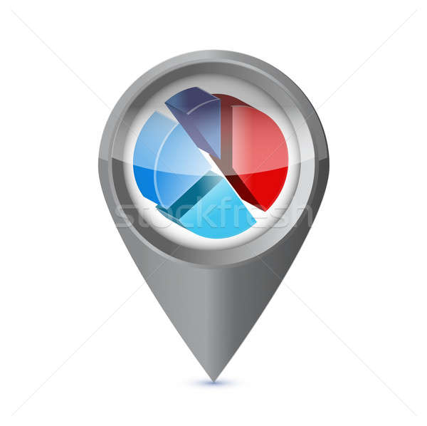 business pie chart success pointer locator. illustration design Stock photo © alexmillos