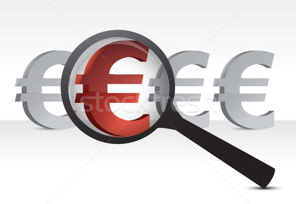 euro under inspection design concept illustration over white Stock photo © alexmillos